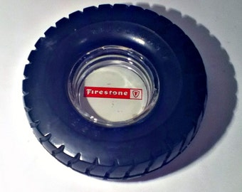 Vintage Firestone Tire Ashtray Advertising 1960s
