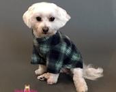 Green and Blue Plaid Dog PJ's, Fleece Dog Pajamas, Dog Sweater