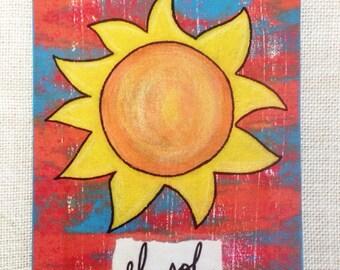 Original Painting - El Sol. Acrylic paints. Loteria-inspired art. Susie Carranza Studio.
