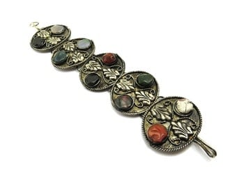 Vintage Boho Bohemian Bracelet, Silver Bracelet Stones, Wide Cuff, Agate Jewelry, Ethnic Tribal Jewelry, Bohemian Jewelry, Fall Fashion