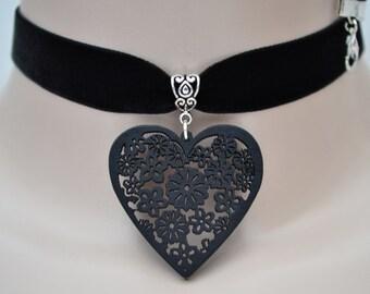 Black Wooden Filigree HEART Charm BLACK 16mm Velvet Ribbon Choker  - ii... made to order - choose a colour, 28 options :)