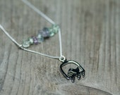 Charm Necklace, Bird Pendant Necklace, Gemstone Necklace, Sterling Silver Chain, Modern Jewelry, Minimalist Jewelry, Gift Idea For Her