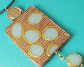 Aqua Dots Pendant Necklace Handmade Polymer Clay