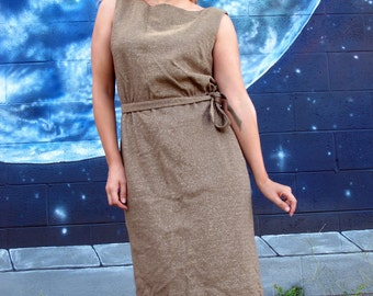 1950s 1960s cocktail DRESS fitted midi wiggle metallic golden taupe // size : M / L