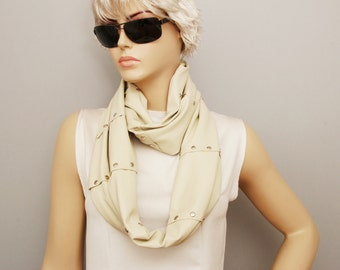 Infinity scarf,unisexmen scarf ,Loop scarf ,woman scarf , leather,Ivory