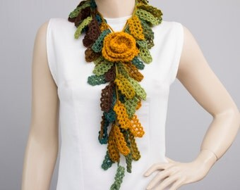 Mustard yellow  rose crochet jewelry ,crochet necklacescarf with removable  flower,shades of green
