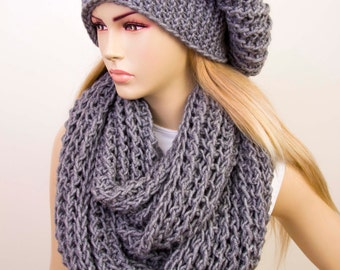Chunky knit slouchy winter hat with knitted chunky  infinity  scarf set , chunky loop  COLOR option
