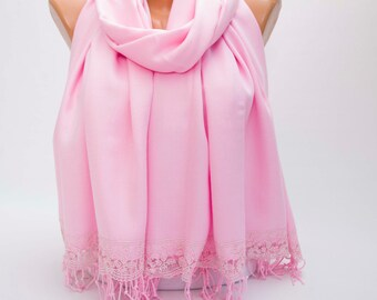 Scarf ,Bridesmaid gift ,Pashmina scarf with victorian french  lace edge , bridal gift ,pink