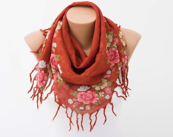 Fringed  scarf ,square tassel scarf , guipure scarf, flowered ,woman scarf,white ,floral,burnt orange