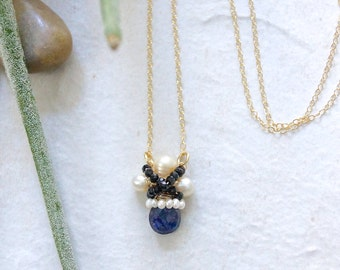 14k Solid Gold:  Blue labradorite wire wrapped cluster pendant necklace