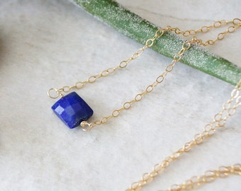 14k solid gold: Small lapis lazuli necklace - petite pendant necklace