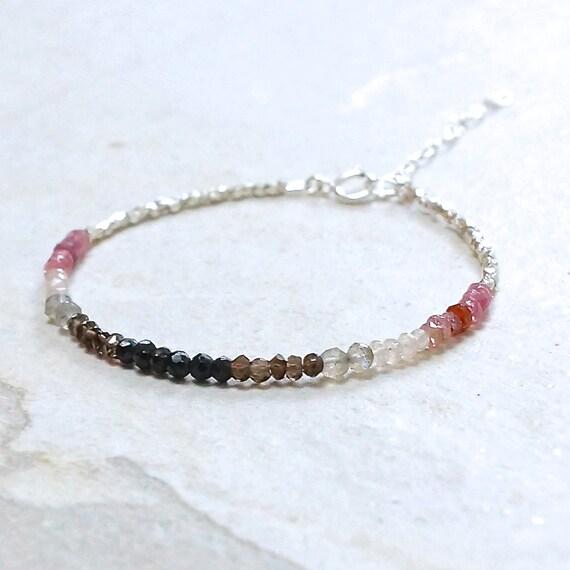 Ombre magenta & karen hill tribe silver beaded bracelet