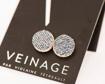 Leather stud earrings, blue jeans leather earrings / stud jewel /stud earrings/leather jewel / minimalist jewel / handmade gift idea