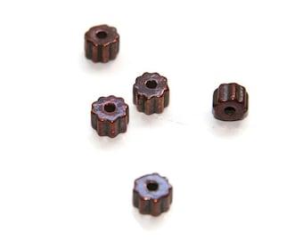 10 Mykonos Gear Beads, Bronze Greek Ceramic Gear, Gear Barrel Bead, Gear Beads, C 10 427