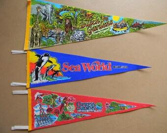Pennants, (3) Souvenir Vacation Pennants, Florida