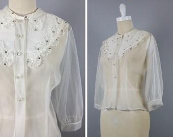 Sheer 1940s Blouse -->  40s Blouse --> Sheer Top --> 1940s Shirt --> 1940s Top --> 40s Shirt --> 40s Top --> Sheer Blouse --> 1940 Top