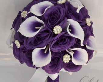 17 Piece Package Wedding Bridal Bouquet Silk Flowers Bouquets Bride Jewels Real Touch Picasso Calla Lily PURPLE WHITE Lily of Angeles WTPU06