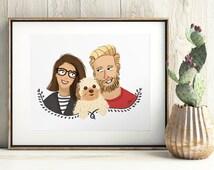 An illustrated custom portrait. Couple family pet portrait, custom illustration, mothers day, birthday present, valentines day gift