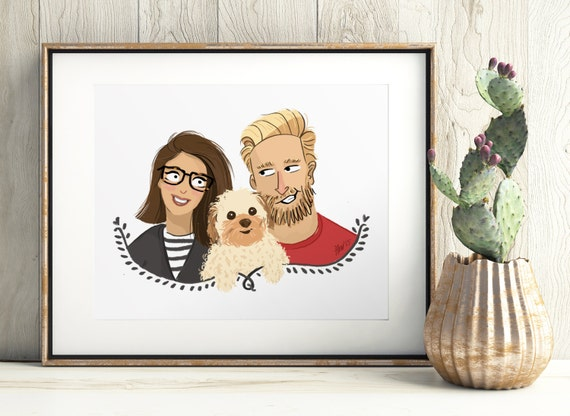 An illustrated custom portrait. Couple family pet portrait, custom illustration, mothers day, birthday present, valentines day gift