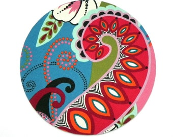 Mouse Pad - Round Fabric mousepad - Floral in pink, red, white and teal blue- Home office / computer / Electronic