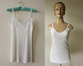 NOS 1950s vintage white camisole lace at neckline cami top lingerie boudoir underwear undies 50s