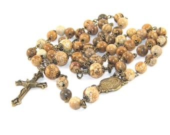 Jasper Rosary with Bronze Medal & Crucifix, Catholic Man's Rosary Prayer Beads