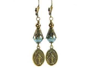 Catholic Earrings, Bronze Miraculous Medals & Blue Swarovski Pearls
