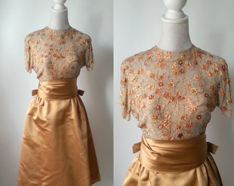 1950s Vintage Dress, 50s Party Dress, Harvey Berin, Karen Stark, Silk Vintage Dress, Beaded 50s Dress, Vintage Formal Dress, Vintage Couture