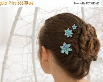 Christmas SALE Blue Succulent Hair Pins Hairpin Polymer Clay Bobby Pins Hair Decoration Accessory Women Handmade Decoration Halloween Weddin