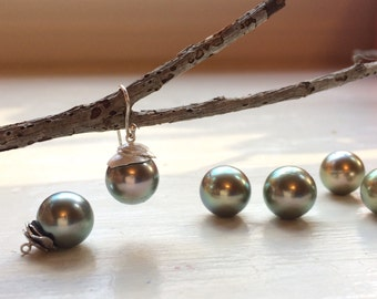 Custom Metallic Tahitian Pearl Earrings in a Handmade Setting of Sterling Silver or 18K Yellow Gold