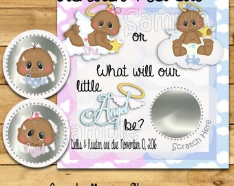 Gender Reveal scratch off cards Angel Pregnancy announcement cards AA Gender reveal party Baby boy Baby girl scratchers favors 12 Precut