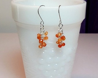 30% Off SALE thru Mon Orange Carnelian Gemstone Cluster Drop Earrings, Mothers Day Christmas Gift, Mom Sister Bridesmaid Girlfriend Birthday