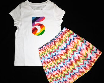 2 piece Rainbow girl, toddler, baby, tween skirt bubble gum color chevron skirt, personalized shirt with birthday number applique - 12m - 16