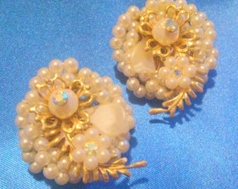 Vintage Haskell Style Pearl Cluster Earrings