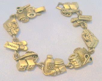 Vintage Gold Tone Medical Nursing Theme Link Bracelet