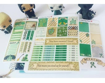 House Slytherin~Hand-Drawn Harry Potter Inspired Weekly Sticker Kit For Erin Condren Vertical Original & EC Hardbound Vertical Planners