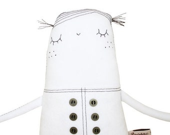 ON SALE 25% OFF Ooak Art Doll, Hand-Embroidered Fabric Doll, Minimalist Plush Doll Soft Sculpture, Black & White Heirloom Doll, Poosac