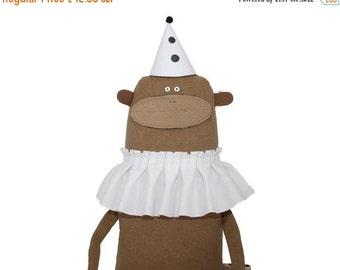 ON SALE 25% OFF Monkey Plush Toy with White Ruffle Collar, Monkey Softie, Handmade Monkey Art Doll, Stuffed Toy Animal, Poosac