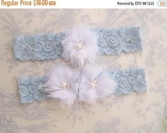 FALL SALE Wedding Garter, Blue Lace Garter Set, Toss Garter,  Something Blue, Blue and White Bridal garter