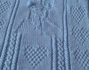 Baby Deer Blanket*, Blue Baby Blanket, Hand Knit Baby Blanket,  Deer Baby Blanket, Hand Knit Baby Afghan, Heirloom Baby Blanket,