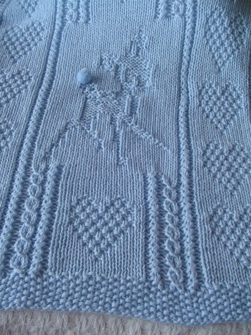 Hand Knitting Blankets : Baby deer blanket blue hand knit