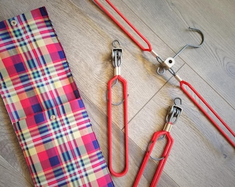 Vintage Travel Hanger Set Red Plaid Carrying Case Set of 3 Red Hangers