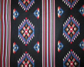 Navajo Striped Diamond Black Red Blue Cotton Fabric Fat Quarter or Custom Listing