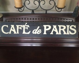 CAFE de PARIS French Country Sign Plaque Wall Decor Apartment Chic Wooden Rustic Distressed Hand Painted You Pick Color