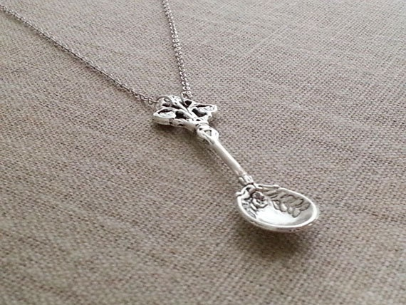 Antique Silver Spoon Necklace. Spoon Charm Necklace. Silver Spoon. Spoon Theory. Spoon Pendant