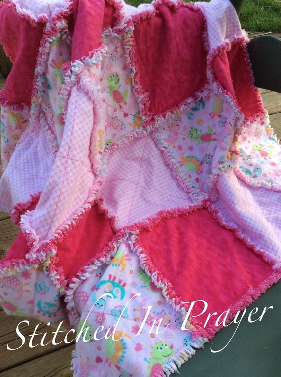 Dino Family Baby Rag Quilt, Baby Girl Blanket, Rag Quilt, Pink Baby Quilt, Swaddle Blanket, Toddler Blanket, Stitched In Prayer