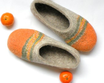 Felted slippers Tangerines orange slippers handmade shoes handfelt slippers