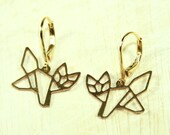 Fine Origami Bear Earrings goldplated - special gift nature bird friendship best friend twin sister wife cousin mother daughter jewelry