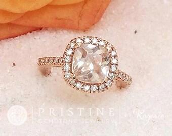 Cushion Peach Champagne Sapphire 2.9cts Gemstone Engagement Ring 14k Rose Gold Diamond Halo Vintage Style Weddings Anniversary