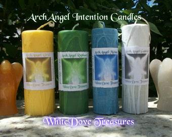 "ARCHANGEL PILLAR CANDLES 6""x2.5"" Michael Raphael Urial Gabriel Intention Candle Artisan Reiki Meditation Prayers Yoga Chakra Candle Gift Box"